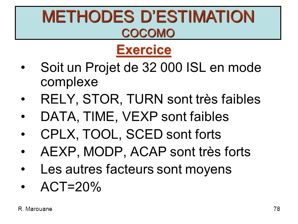 METHODES D'ESTIMATION COCOMO