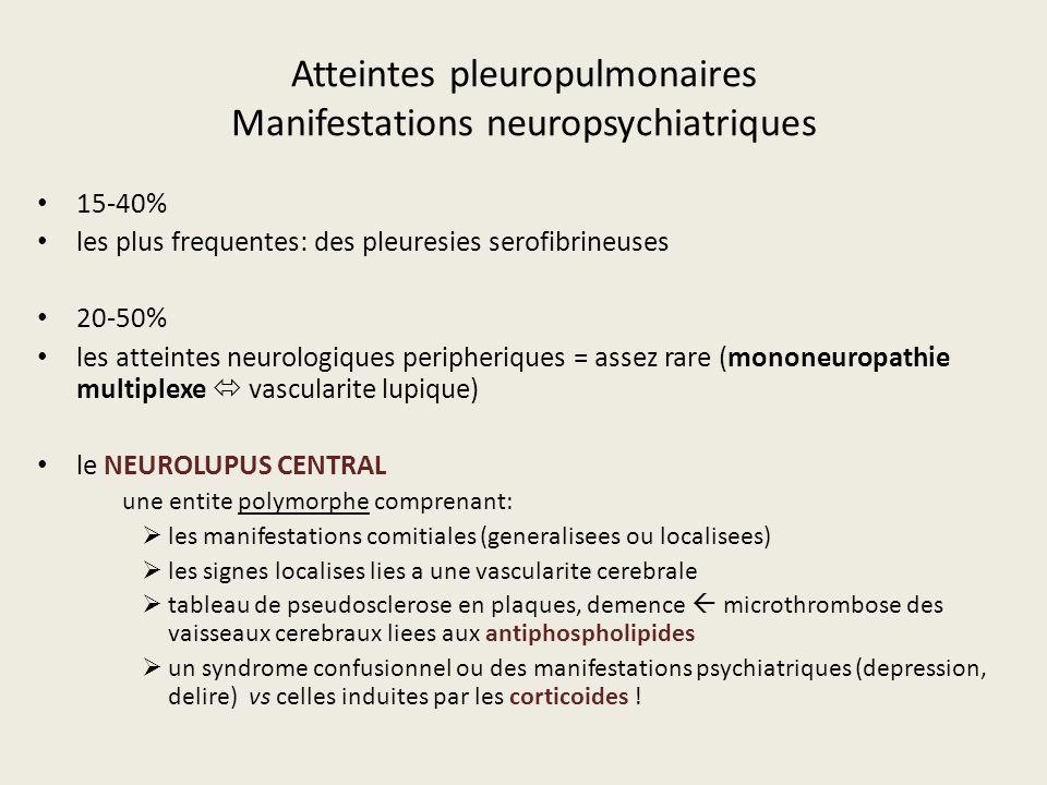 Atteintes pleuropulmonaires Manifestations neuropsychiatriques