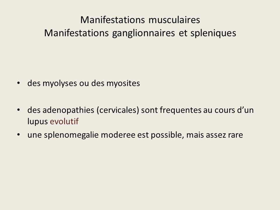 Manifestations musculaires Manifestations ganglionnaires et spleniques