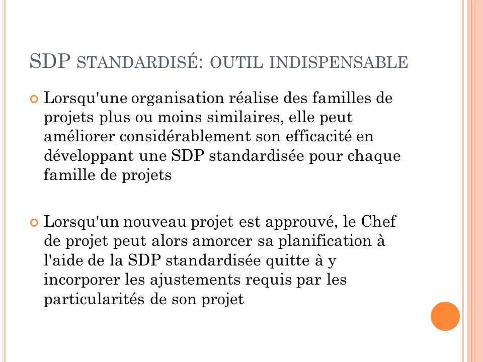 SDP standardisé: outil indispensable