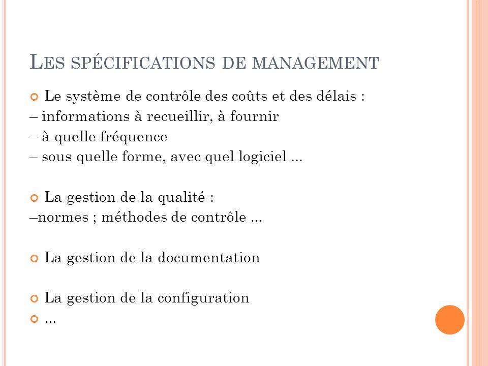 Les spécifications de management