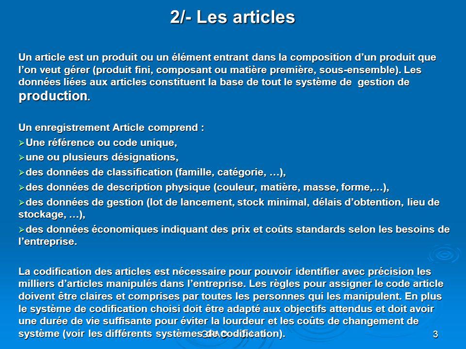2/- Les articles