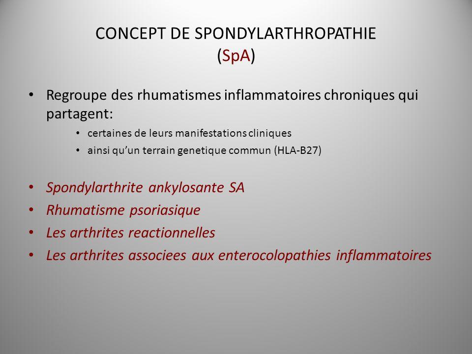 CONCEPT DE SPONDYLARTHROPATHIE (SpA)