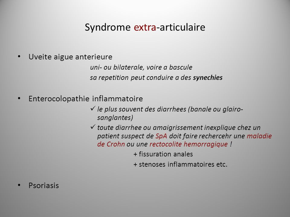 Syndrome extra-articulaire