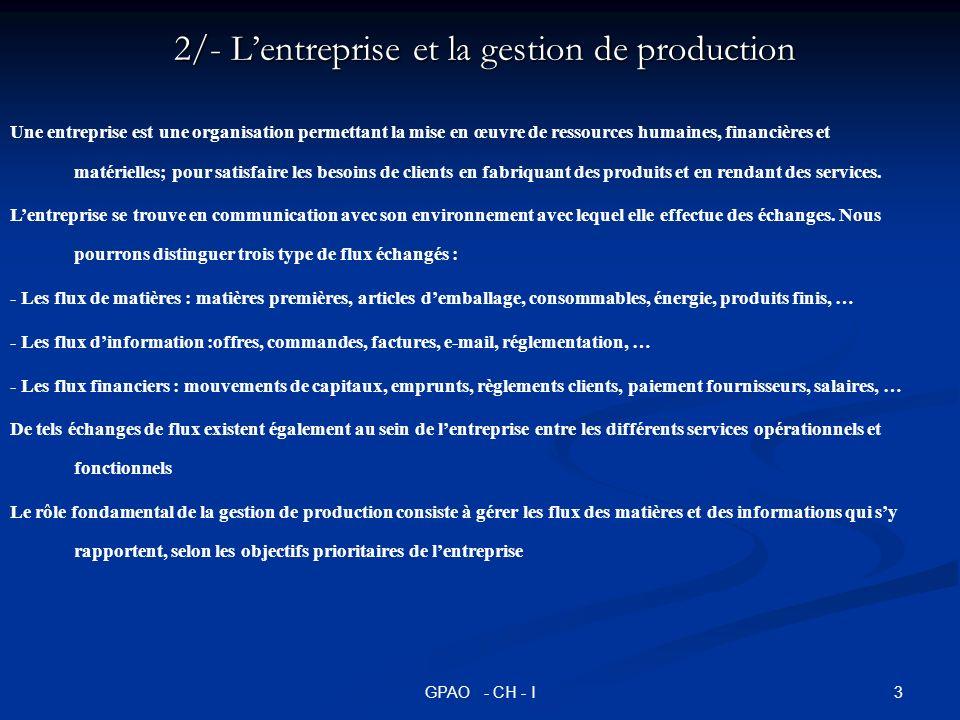 2/- L'entreprise et la gestion de production
