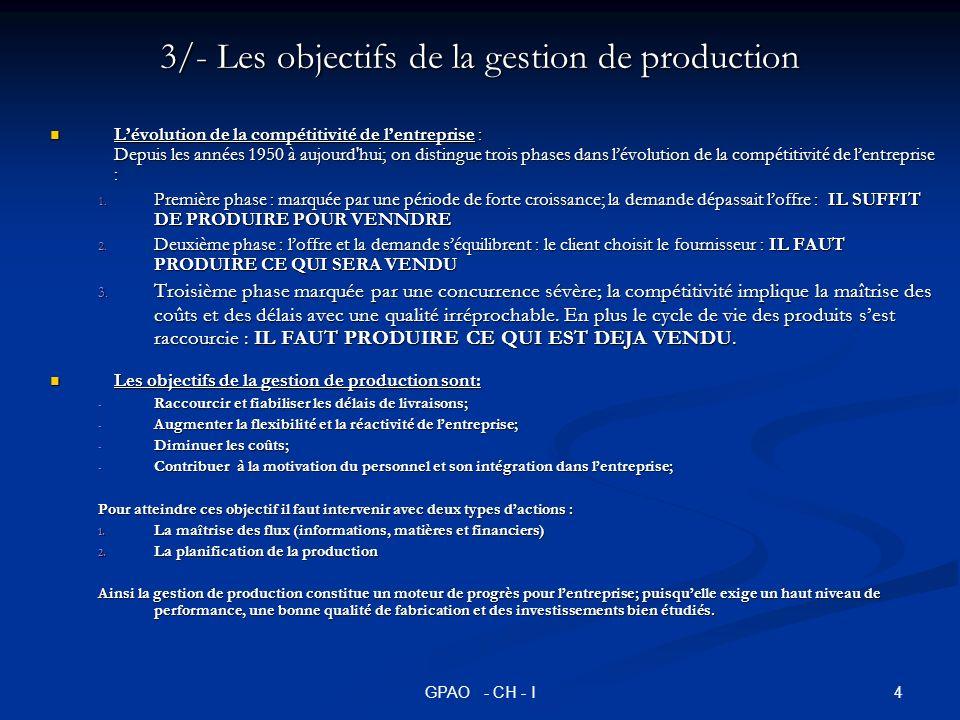 3/- Les objectifs de la gestion de production