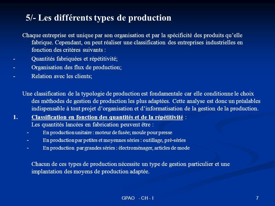 5/- Les différents types de production