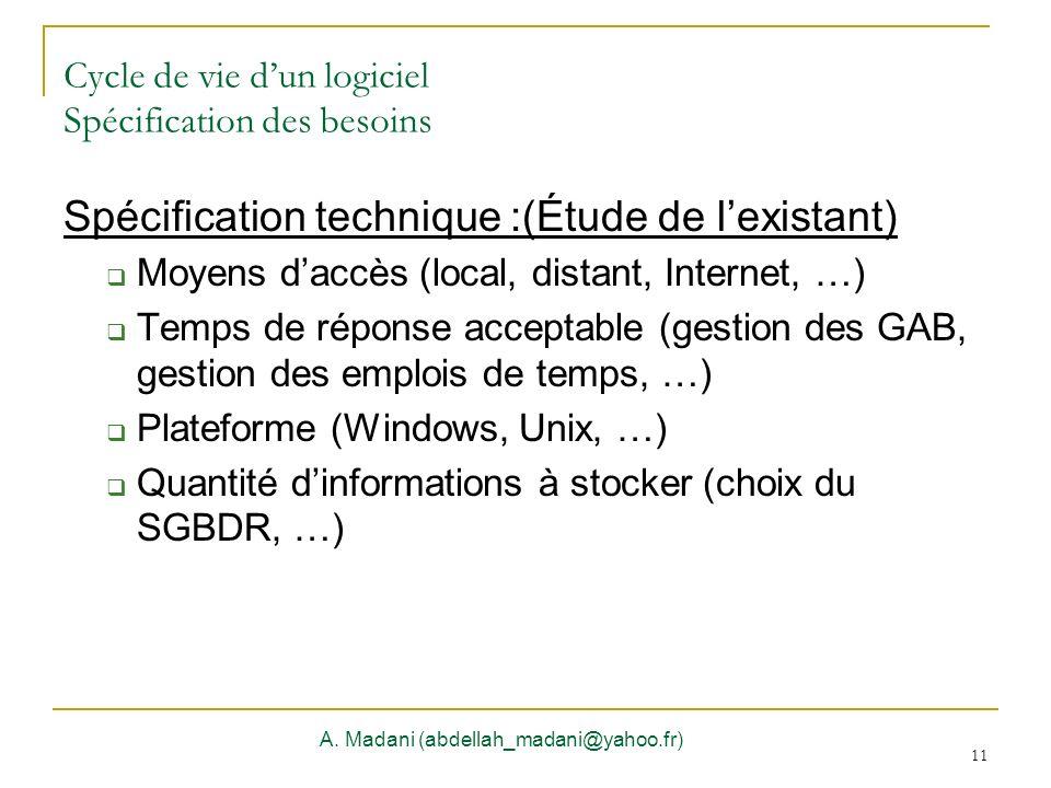 Cycle de vie d'un logiciel Spécification des besoins