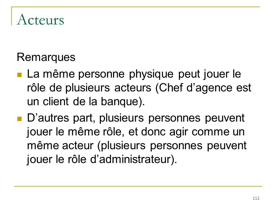 Acteurs Remarques. La même personne physique peut jouer le rôle de plusieurs acteurs (Chef d'agence est un client de la banque).