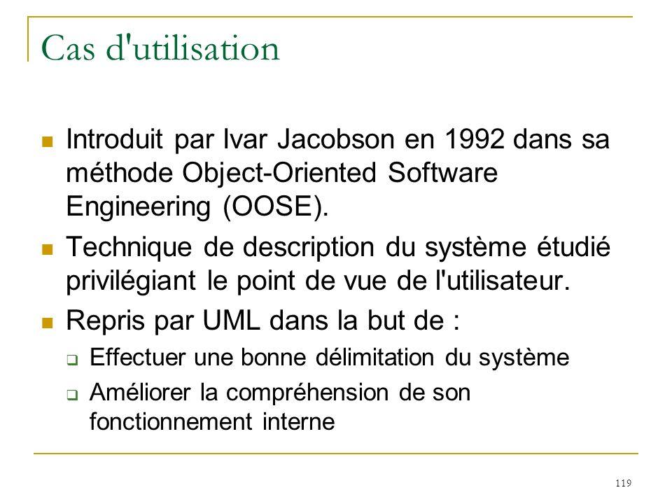 Cas d utilisation Introduit par Ivar Jacobson en 1992 dans sa méthode Object-Oriented Software Engineering (OOSE).