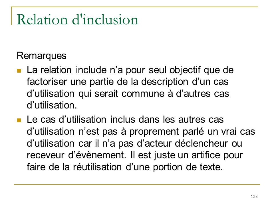Relation d inclusion Remarques