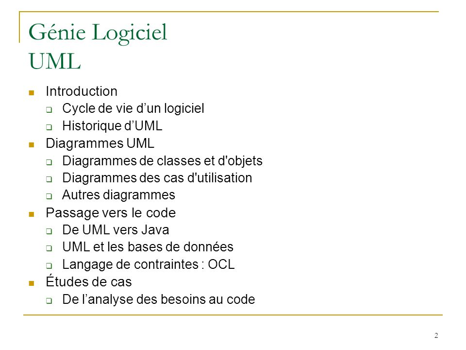 Génie Logiciel UML Introduction Diagrammes UML Passage vers le code
