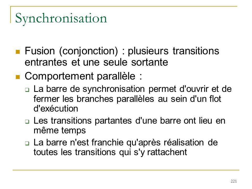 Synchronisation Fusion (conjonction) : plusieurs transitions entrantes et une seule sortante. Comportement parallèle :