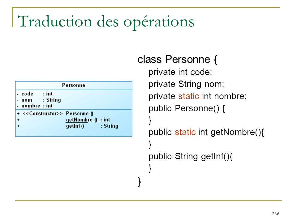 Traduction des opérations