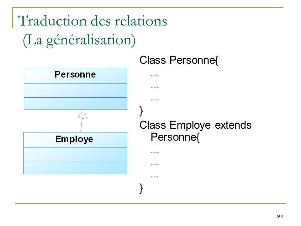 Traduction des relations (La généralisation)