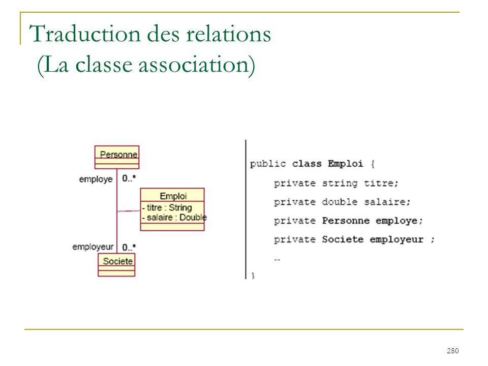 Traduction des relations (La classe association)