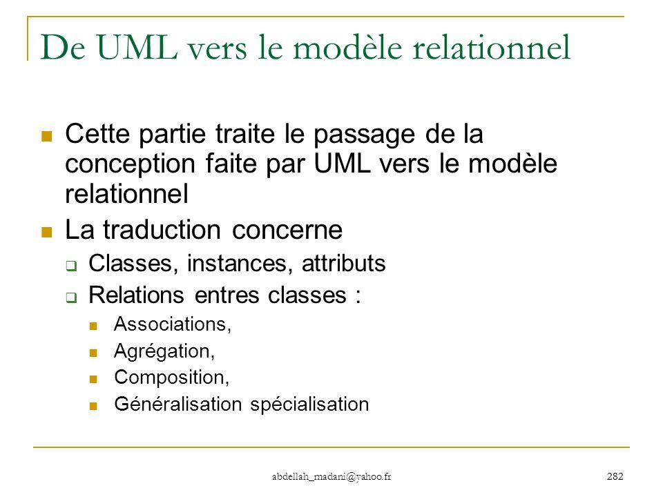 De UML vers le modèle relationnel