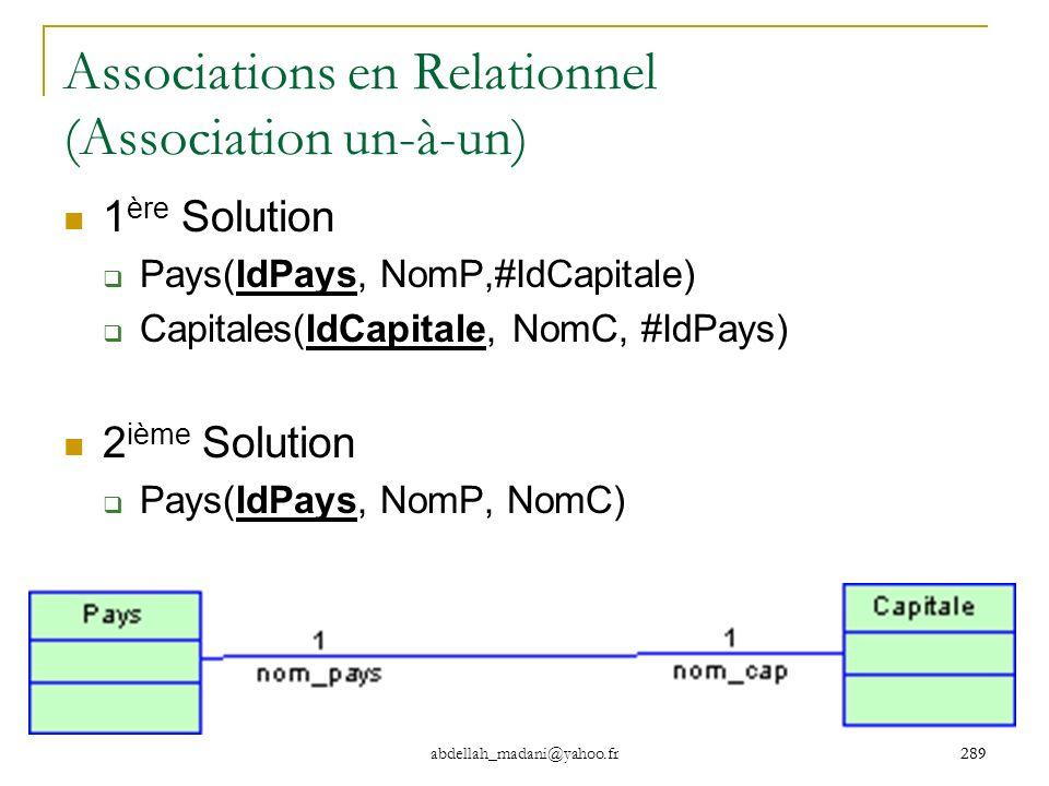 Associations en Relationnel (Association un-à-un)