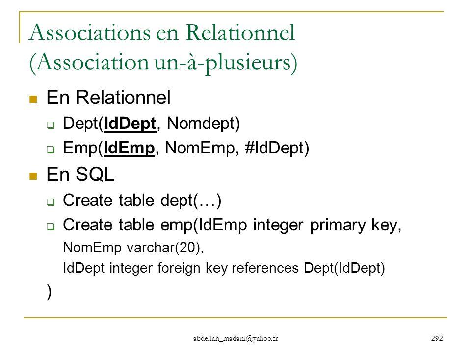 Associations en Relationnel (Association un-à-plusieurs)