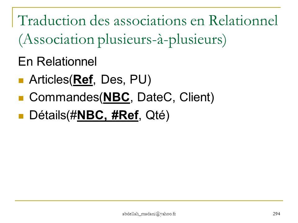 Traduction des associations en Relationnel (Association plusieurs-à-plusieurs)