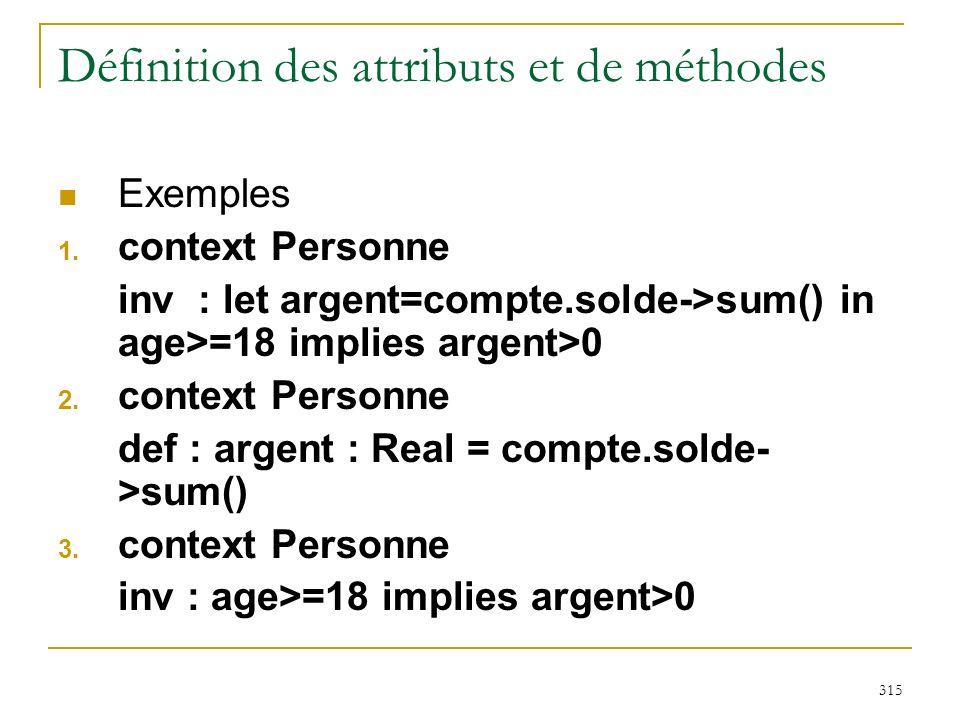 Définition des attributs et de méthodes