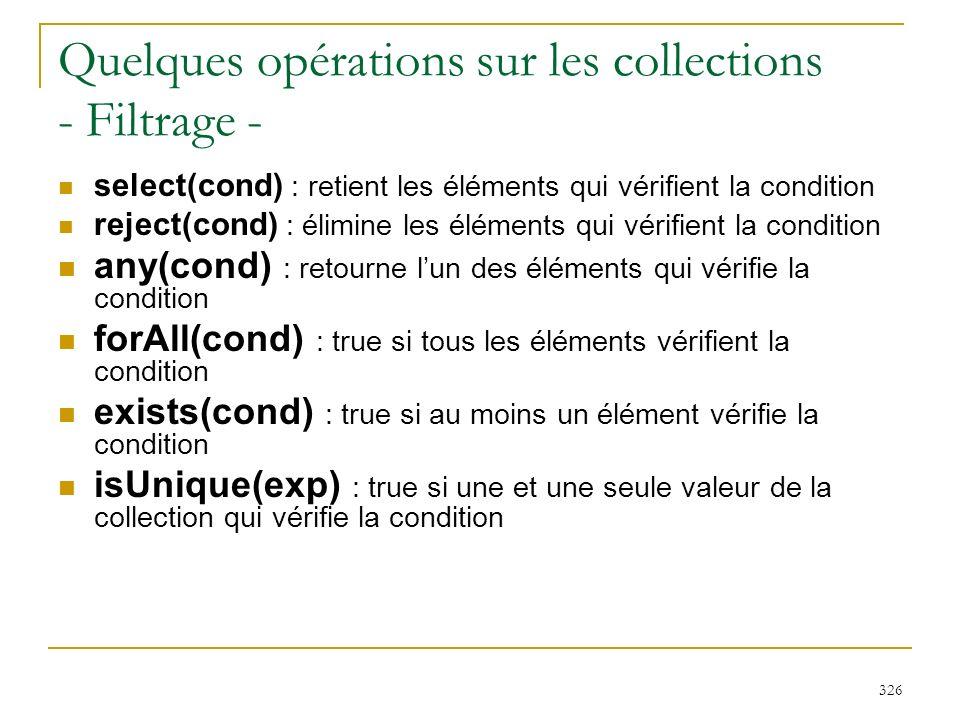 Quelques opérations sur les collections - Filtrage -