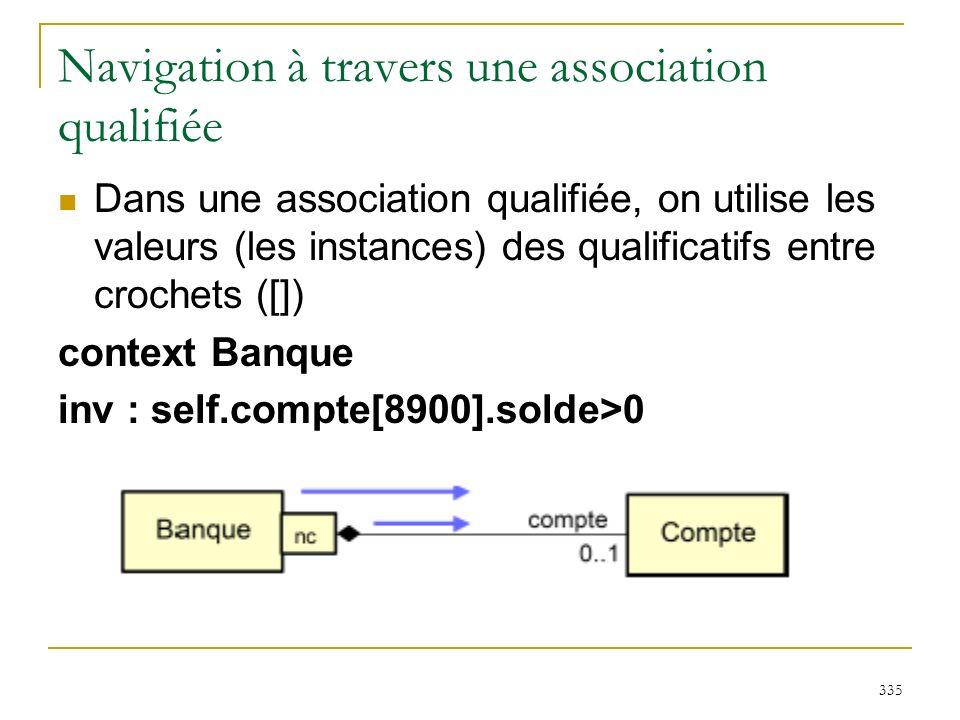 Navigation à travers une association qualifiée