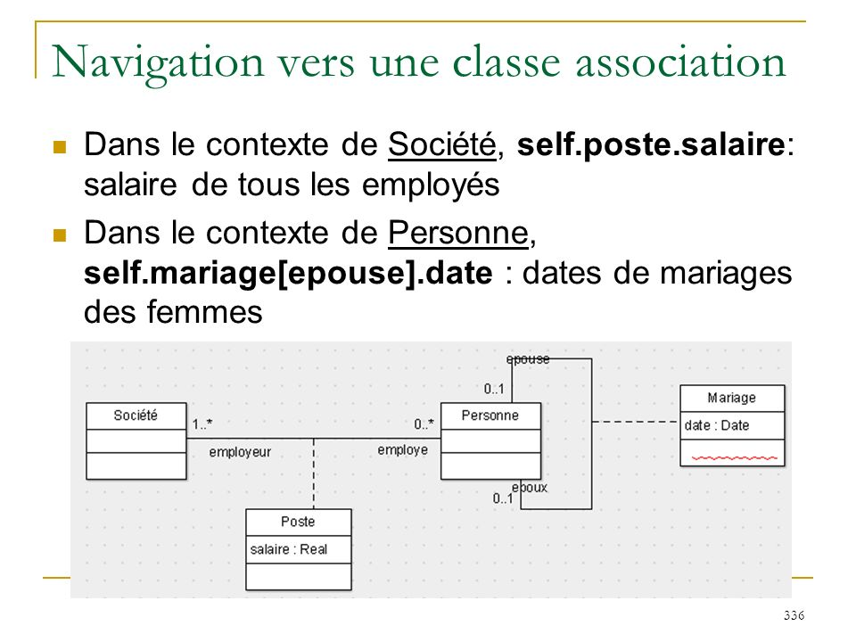Navigation vers une classe association