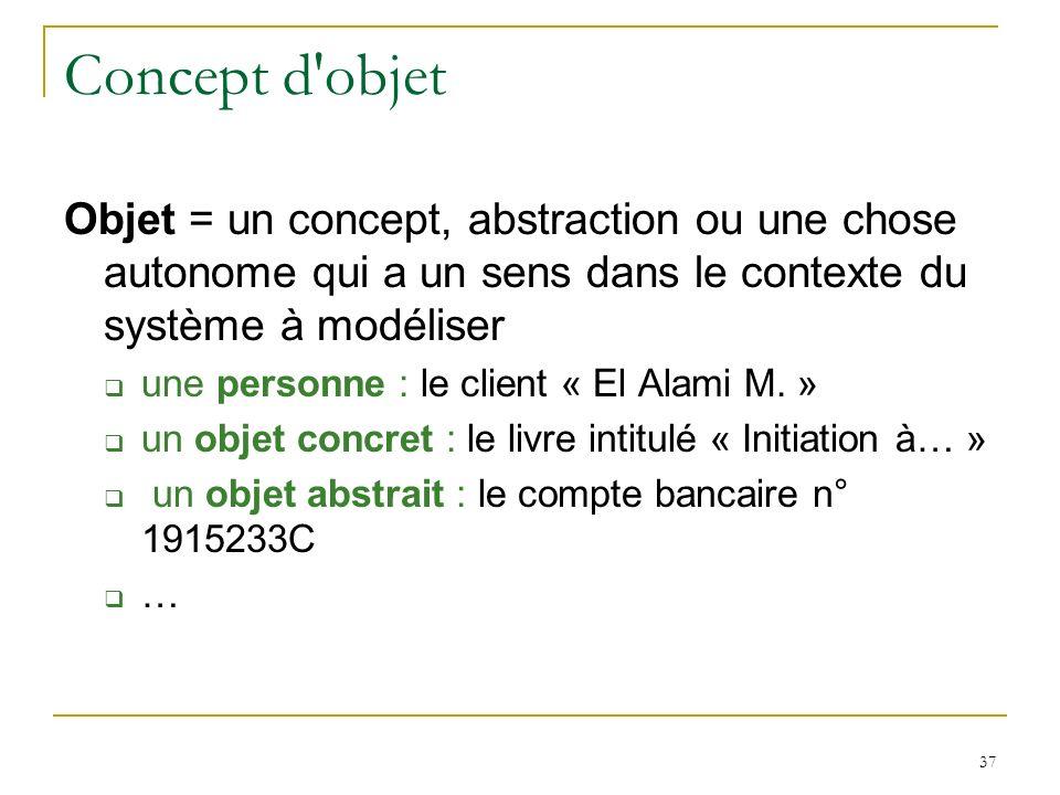 Concept d objet Objet = un concept, abstraction ou une chose autonome qui a un sens dans le contexte du système à modéliser.