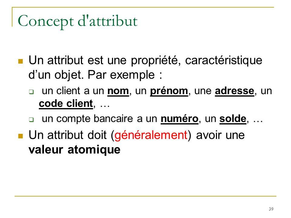Concept d attribut Un attribut est une propriété, caractéristique d'un objet. Par exemple :