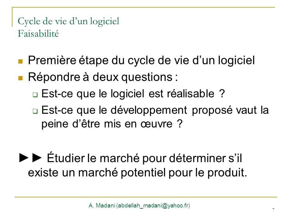 Cycle de vie d'un logiciel Faisabilité