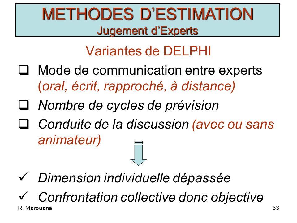 METHODES D'ESTIMATION Jugement d'Experts