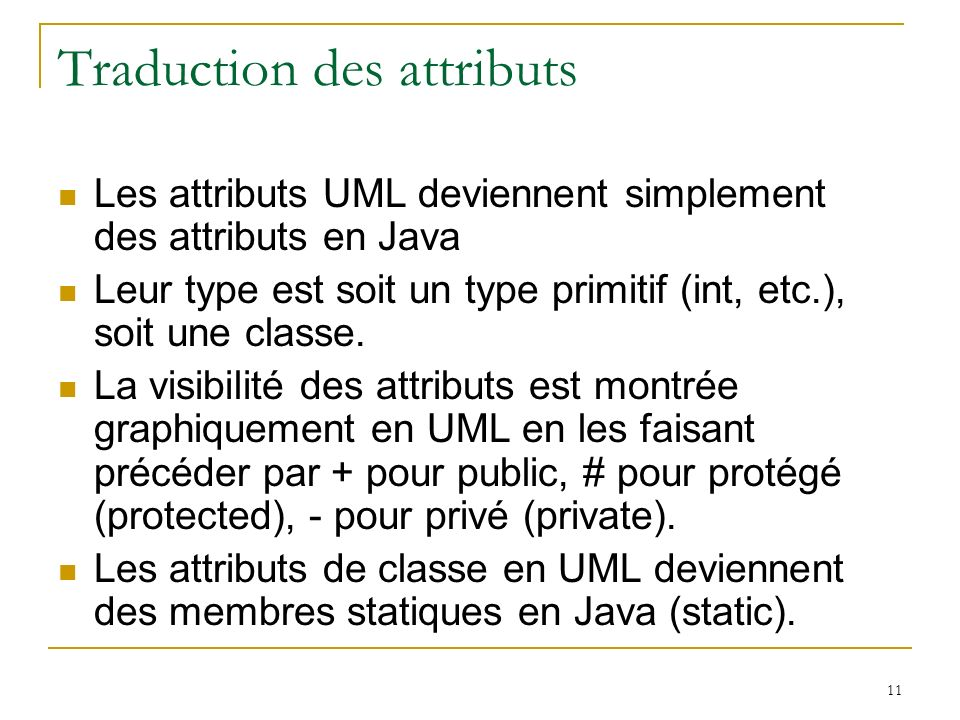 Traduction des attributs