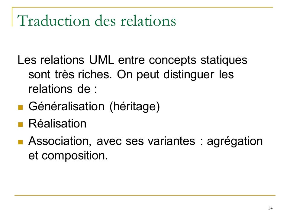 Traduction des relations
