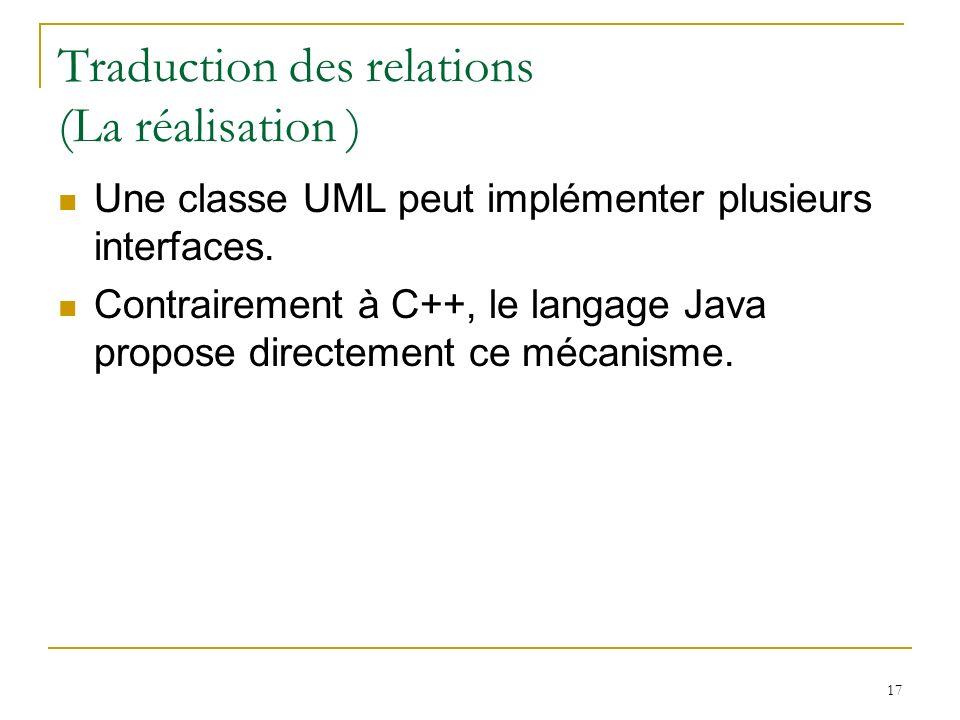 Traduction des relations (La réalisation )