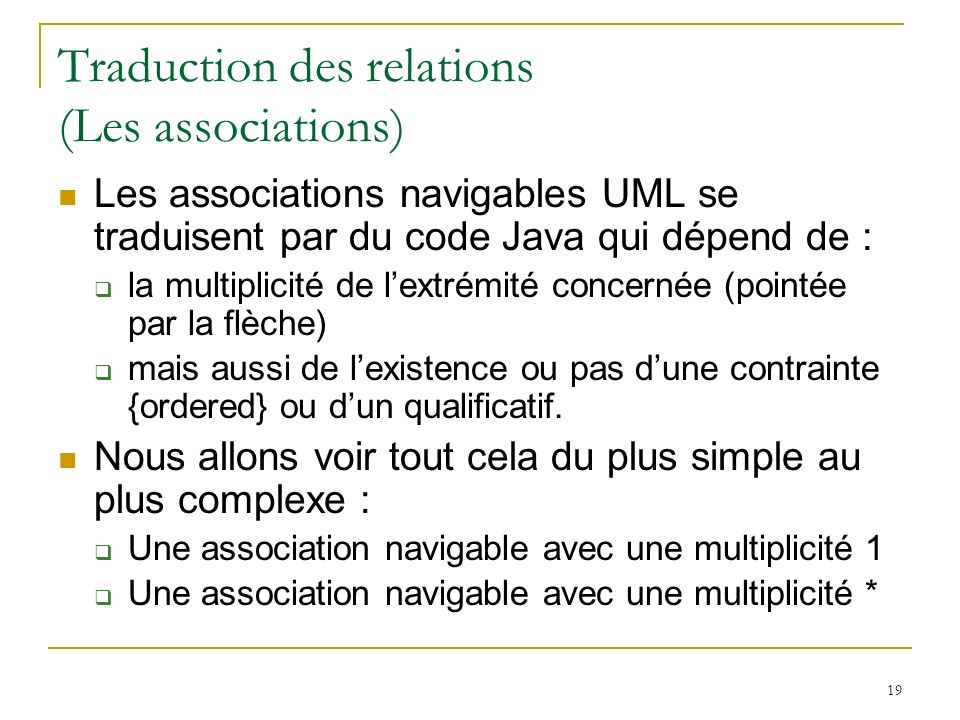 Traduction des relations (Les associations)