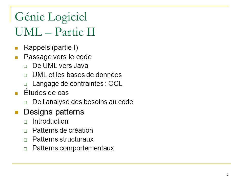 Génie Logiciel UML – Partie II