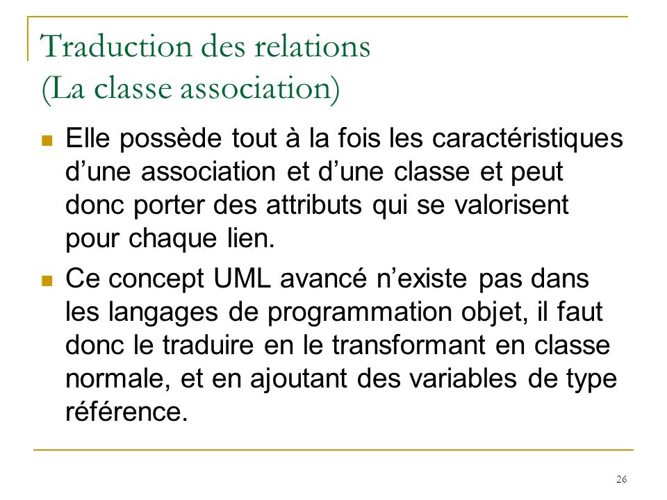 Traduction des relations (La classe association)