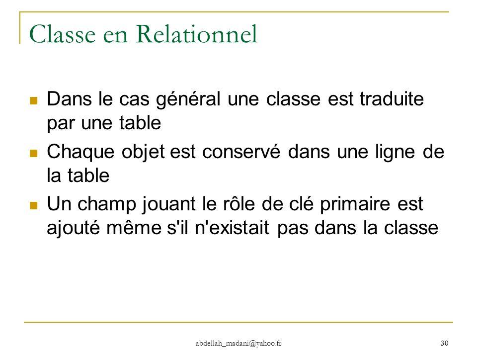 Classe en RelationnelDans le cas général une classe est traduite par une table. Chaque objet est conservé dans une ligne de la table.