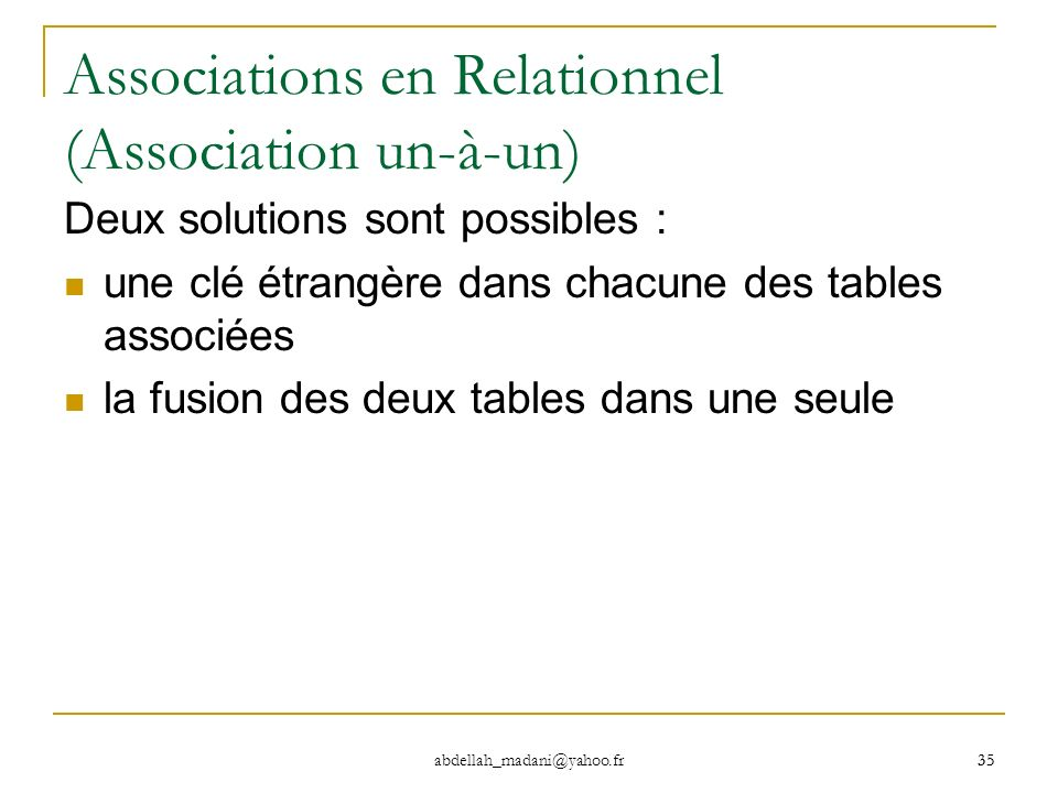 Associations en Relationnel (Association un-à-un)