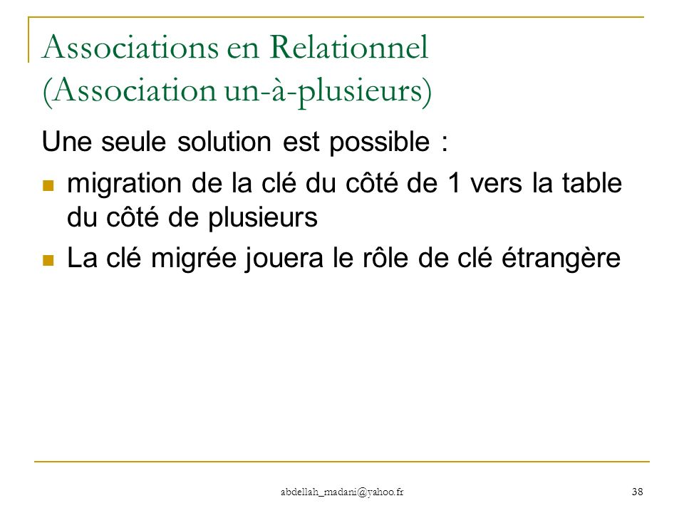 Associations en Relationnel (Association un-à-plusieurs)