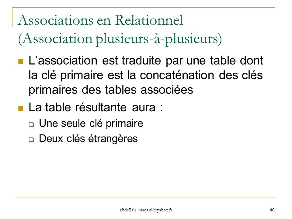 Associations en Relationnel (Association plusieurs-à-plusieurs)