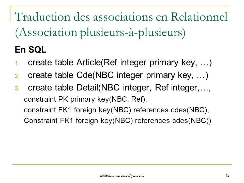 Traduction des associations en Relationnel (Association plusieurs-à-plusieurs)