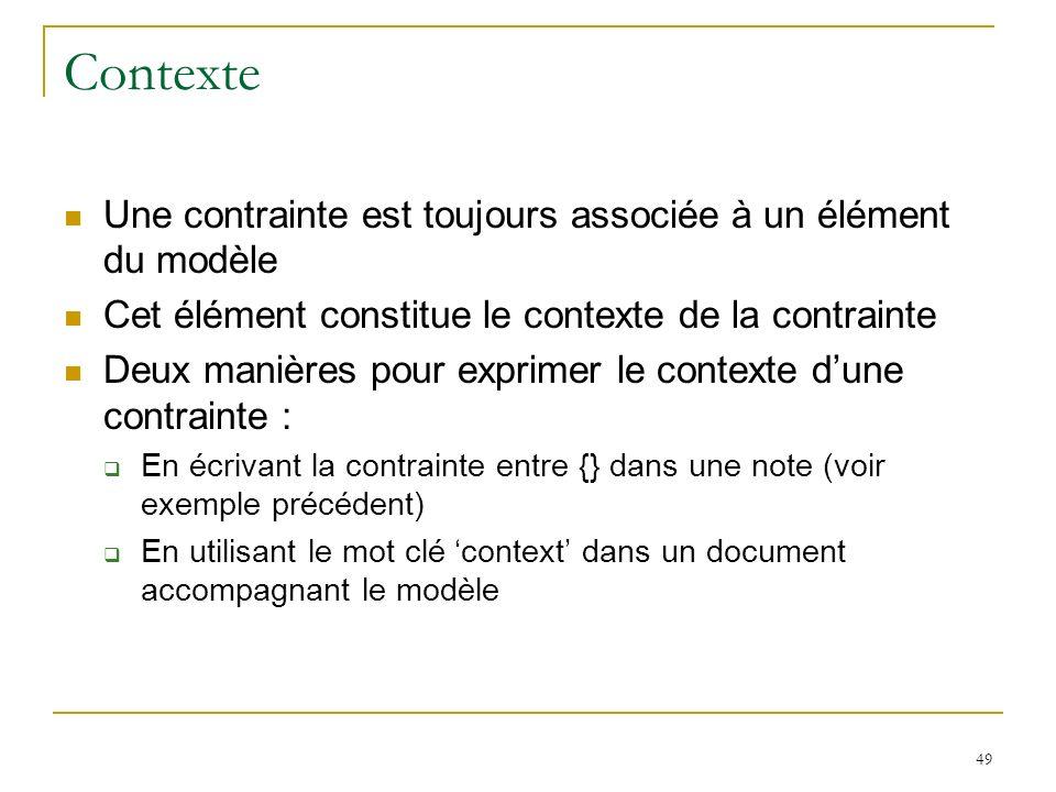 Contexte Une contrainte est toujours associée à un élément du modèle