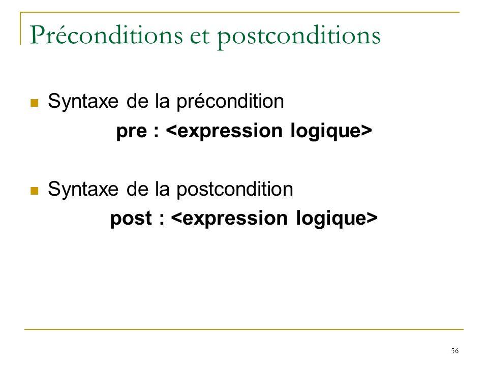 Préconditions et postconditions