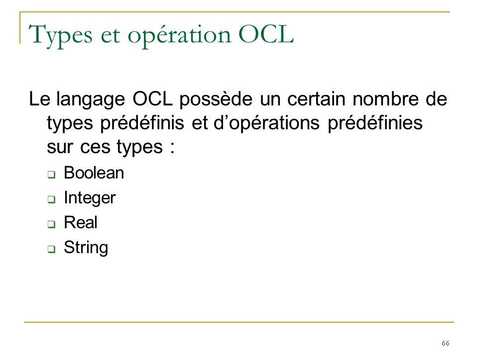 Types et opération OCL Le langage OCL possède un certain nombre de types prédéfinis et d'opérations prédéfinies sur ces types :