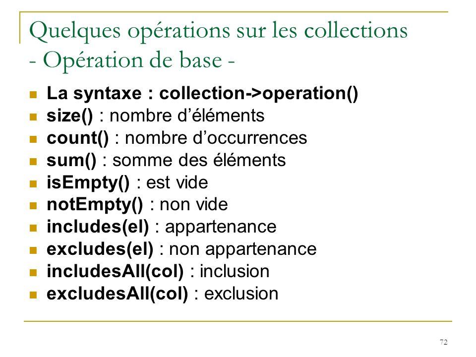 Quelques opérations sur les collections - Opération de base -