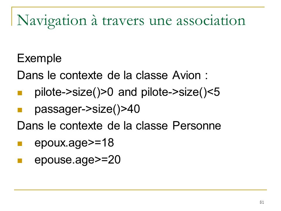 Navigation à travers une association