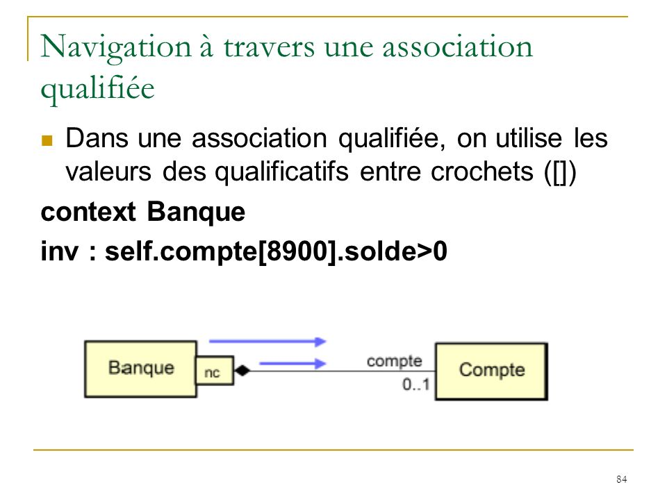 Navigation à travers une association qualifiée