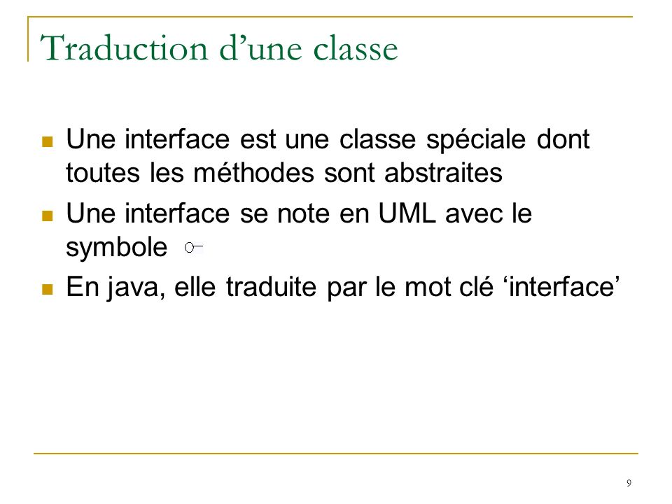 Traduction d'une classe